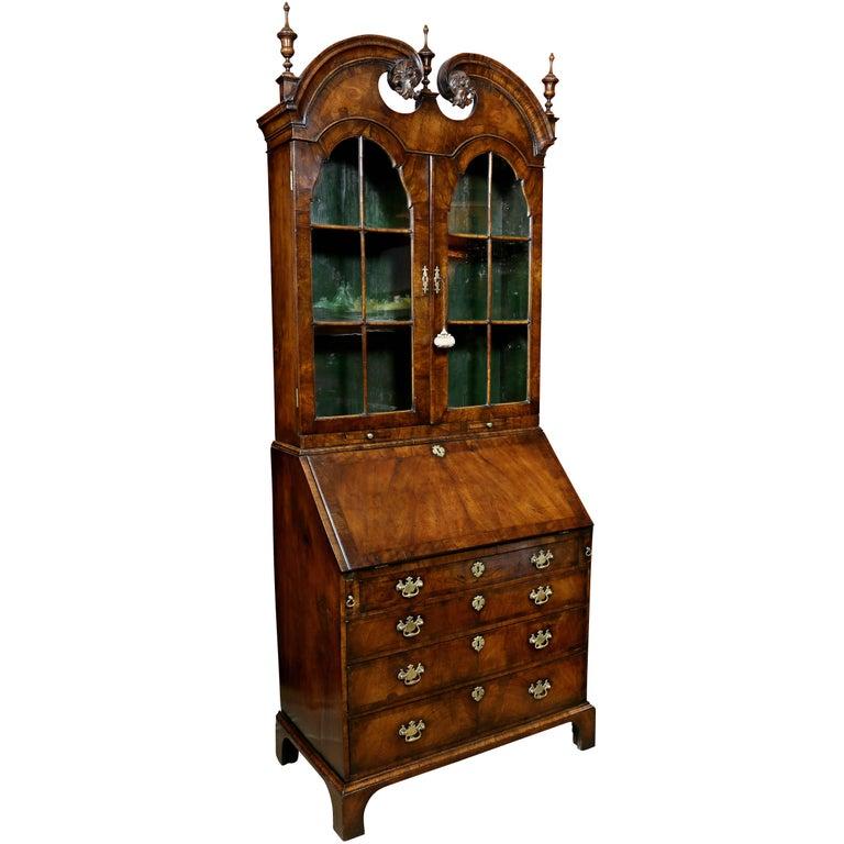 Queen Anne Walnut Secretary Bookcase