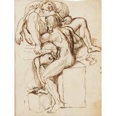 Rare 18th Century Erotic Scene Drawing, Attributed to Tobias Sergel