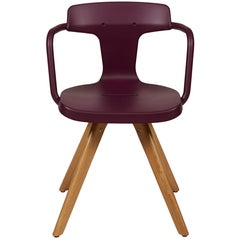 T14 Chair in Aubergine with Wood Legs by Patrick Norguet & Tolix