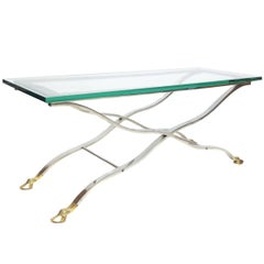 Mid-Century Modern Chrome and Glass Console or Coffee Table with Brass Hoof Feet