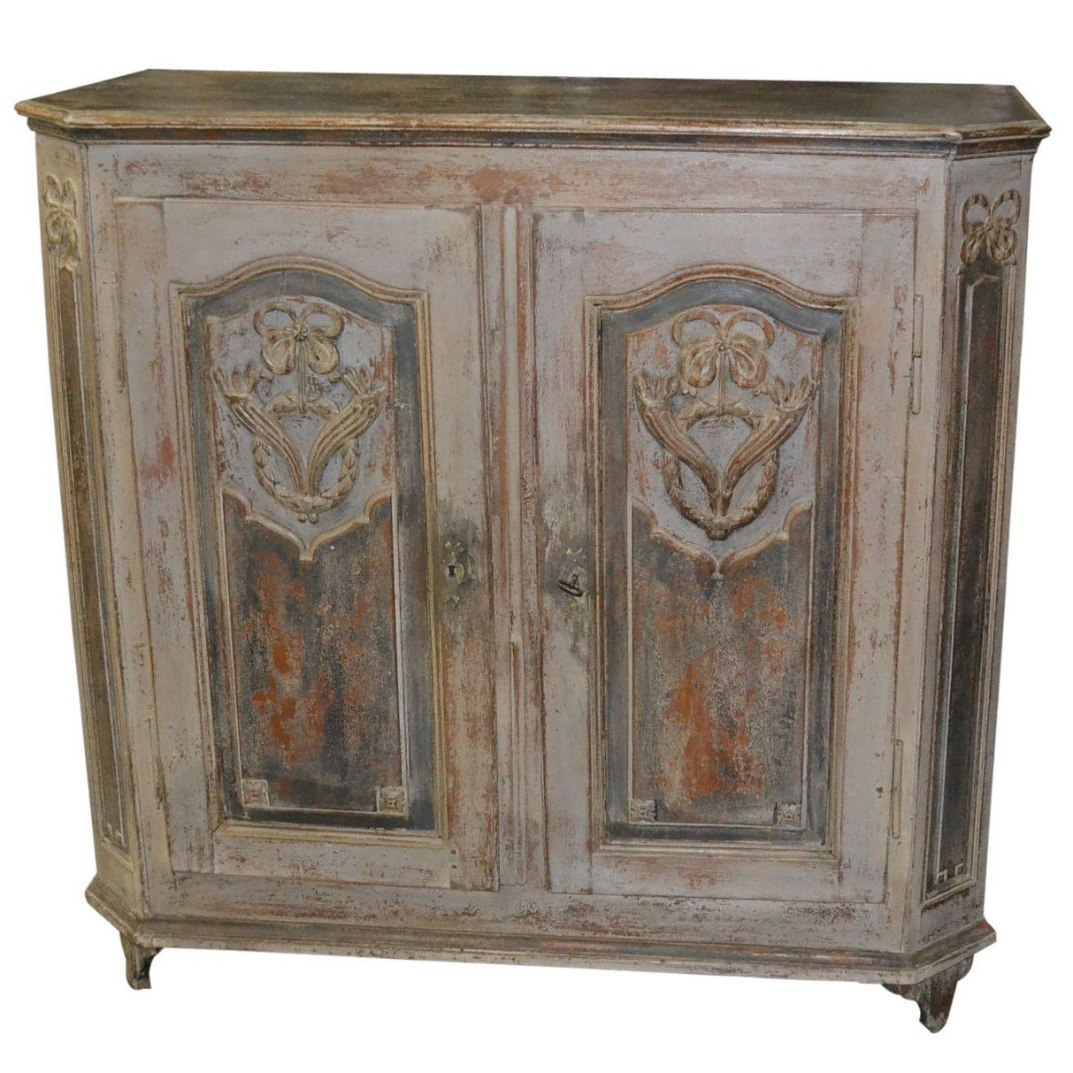 Antique German Painted Buffet Cabinet