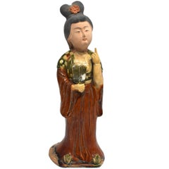 Terracotta Court Lady Holding a Fan, Tang Style San Cai