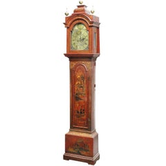 Late 19th Century English Red Lacquered and Brass Chinoiserie Long Case Clock