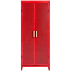 B2 Perforated Locker Wardrobe in Red-Orange by Chantal Andriot & Tolix