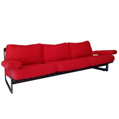 Red Fabric Feather Zanotta Sofa with Aluminium Steel Frame, Late 20th Century