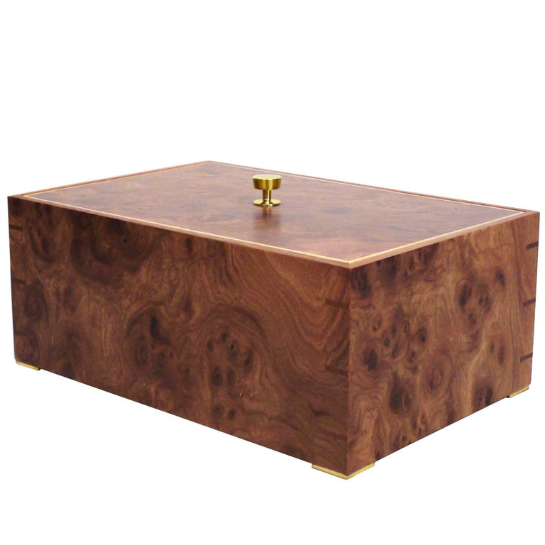 Contemporary Elmroot, Mahogany and Brass Modern Minimalist Wood Box