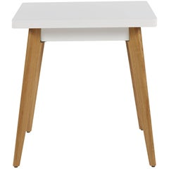 55 Square Side Table in White with Wood Legs by Jean Pauchard & Tolix