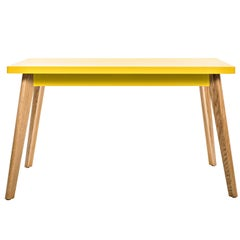 55 Table in Yellow with Wood Legs by Jean Pauchard & Tolix