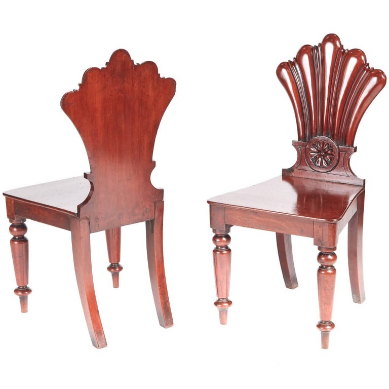 Quality Pair of Antique Mahogany Hall Chairs