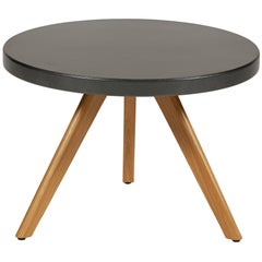 K17 Low Round Table 60 in Speckled Grey with Wood Legs by Tolix