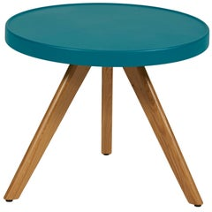 M17 Low Table in Teal with Wood Legs by Tolix