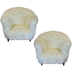 Pair of Large Danish Armchairs in Fur