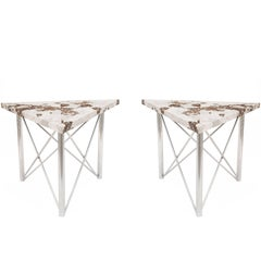 Pair of Contemporary American Chrome Base Side/End Tables