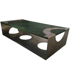 Early 20th Century Modern French Green Wood Steel Coffee Table by Jean Delagneau