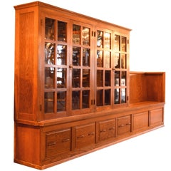 Oak Schoolhouse Cabinet with Bench