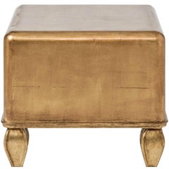 Ottoman Coffee Table, White, Black, Gold, Small