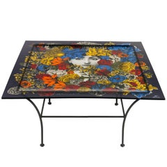 Piero Fornasetti Acrylic Coffee Table on Iron Base, Italy, 1970s