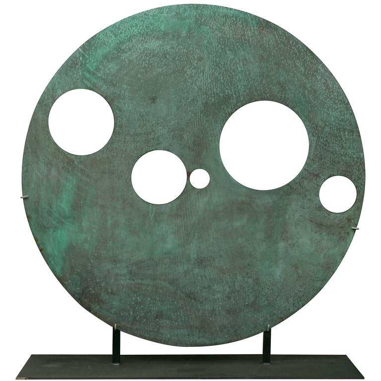 Harry Bertoia Patinated Solid Bronze Gong Sculpture, USA, 1970s For Sale