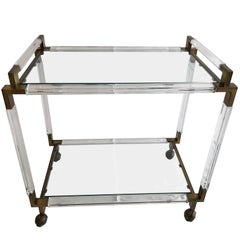Vintage Brass and Lucite Bar Cart by Charles Hollis Jones, Metric Collection