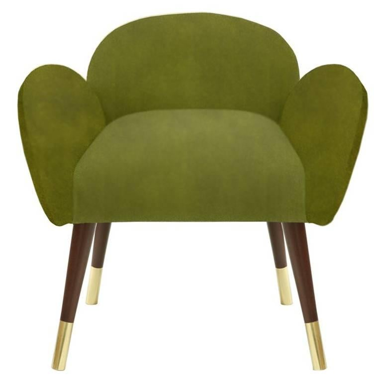 Moss Green Velvet with Brass Sabots Dining Chair Patagonia