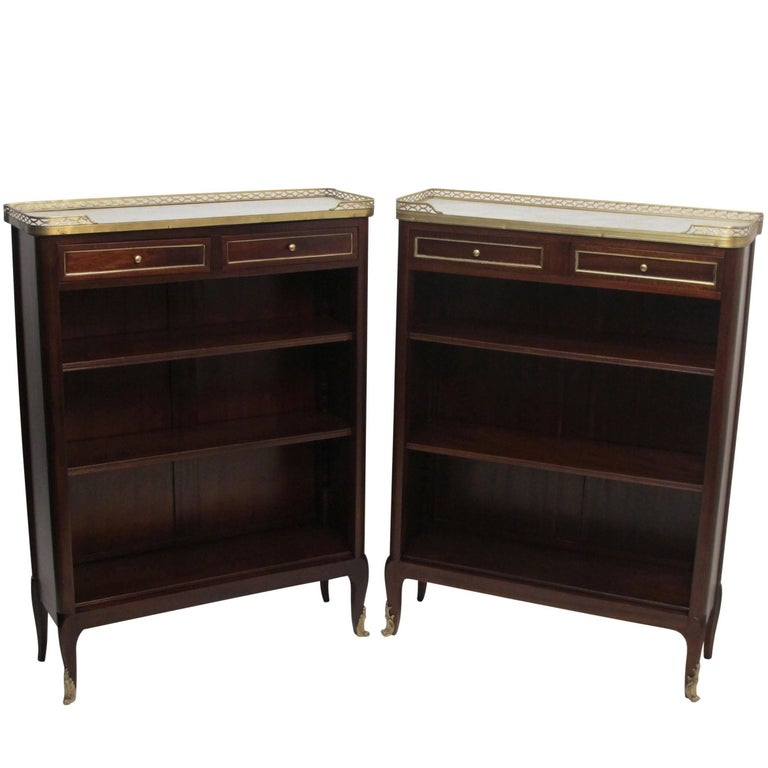 Pair of French Louis XVI Style Mahogany Bookcases For Sale