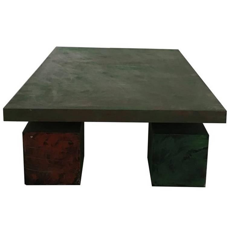 Mid 20th Century Modern Rectangular Black And Green Wood Coffee Table Delagneau