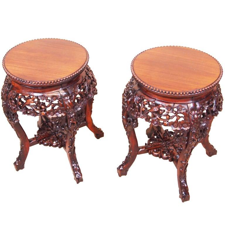 Antique 19th Century Pair of Oriental Hardwood Tables