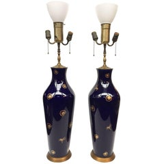 20th Century Pair of Cobalt Blue Porcelain Table Lamps Attributed to Sèvres