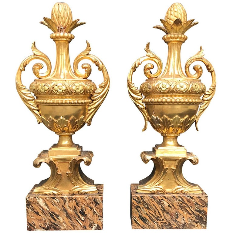 Pair of 18th Century Italian Giltwood Urns