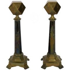 Brass Hexagon Andirons