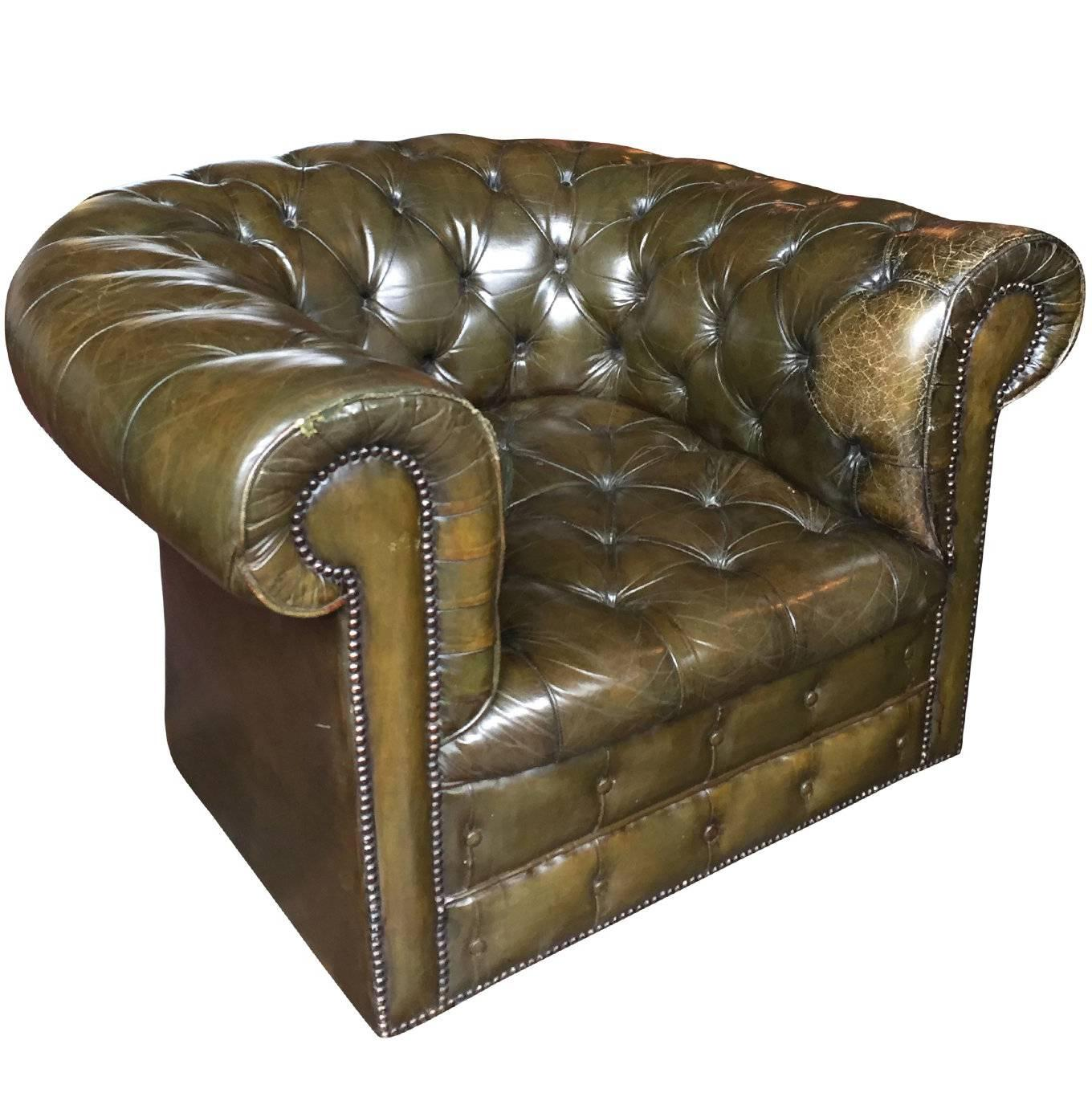 1930s English Olive Green Chesterfield Club Chair For Sale