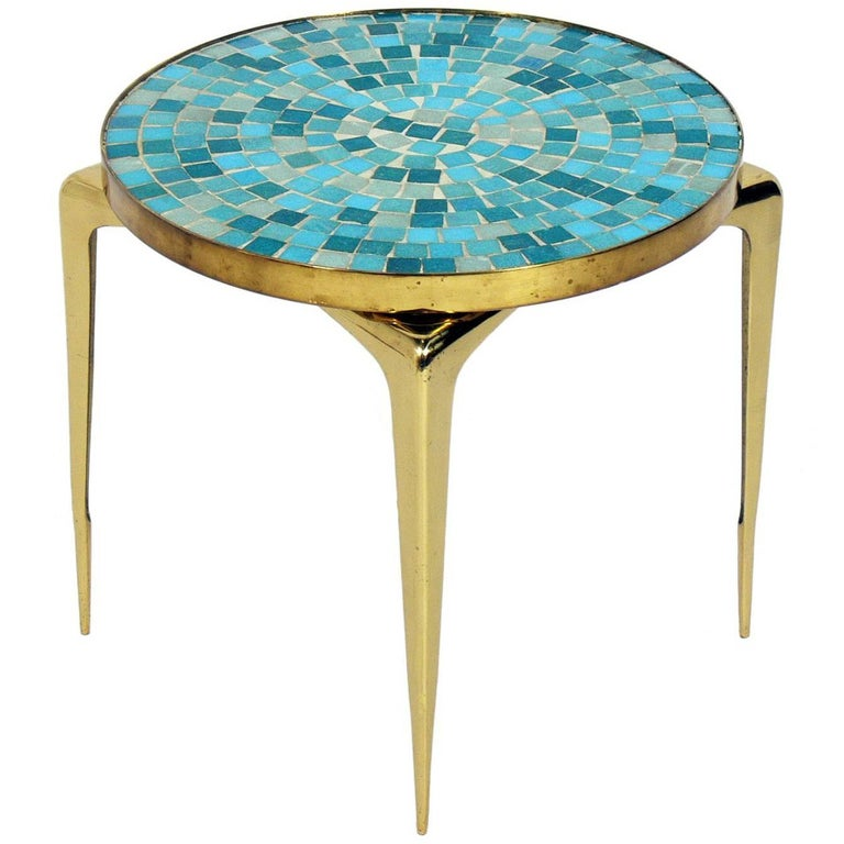 Italian Mosaic Tile and Brass Table
