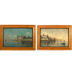 Pair of Italian Venetian Canal Scene Paintings, 19th Century