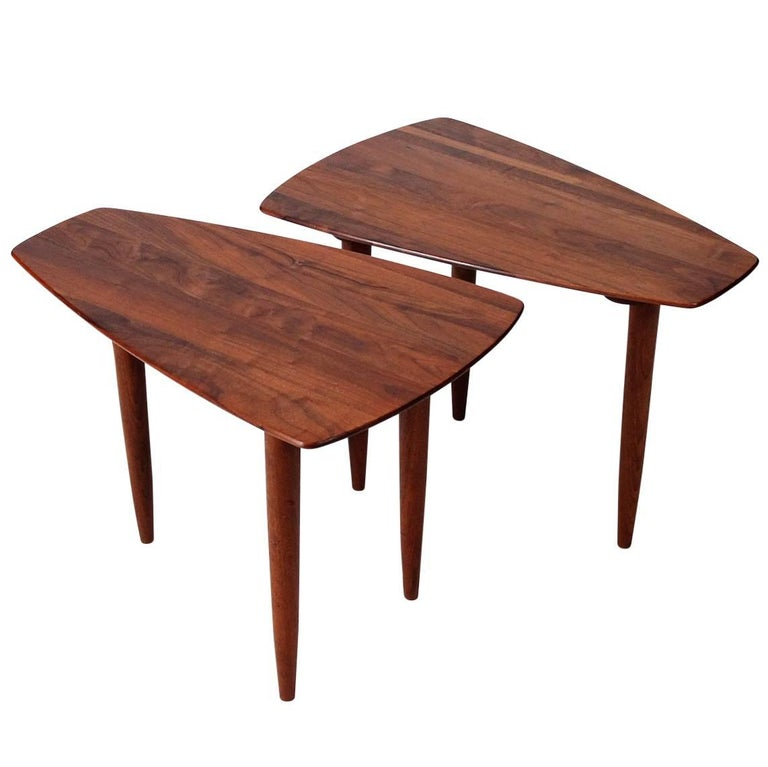 Pair of Walnut Side Tables by Ace-Hi For Sale