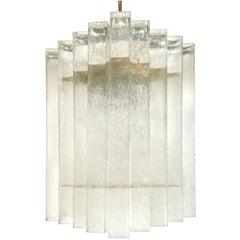 German Textural Glass Chandelier by Doria