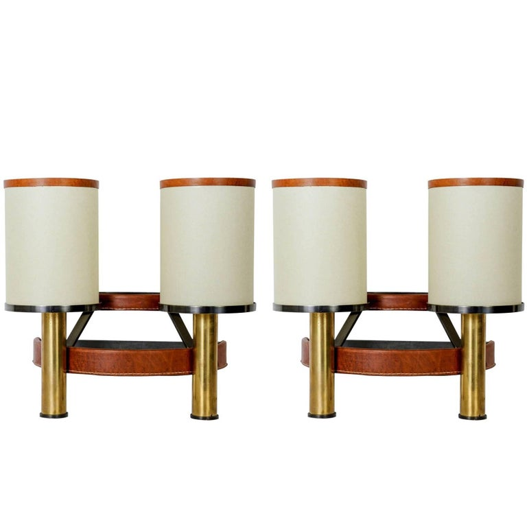 Fantastic Pair of Sconces by Jacques Adnet