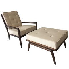T.H. Robsjohn-Gibbings Lounge Chair with Ottoman