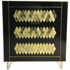 21th Handmade Mirrored Commode or Chest of Drawers in Murano Glass & Brass Inlay