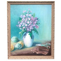 Blue and Purple Floral Painting in Gilt Frame