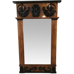 Big Empire Mirror, Mahogany, Carved Decor, South Germany circa 1810