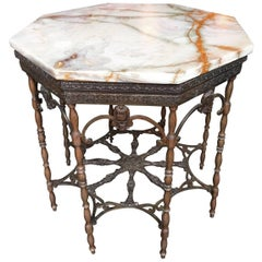 Art Deco Octagonal Gilt Metal and Onyx Coffee Table Attributed to Oscar Bach
