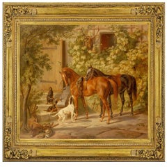 Horses at the Porch, by German Romantic Artist Albrecht Adam