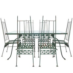 Wrought Iron and Glass Dining Set