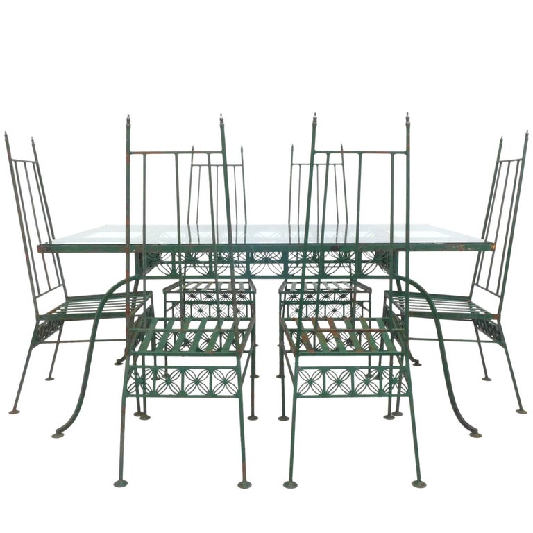 Wrought Iron and Glass Dining Set For Sale