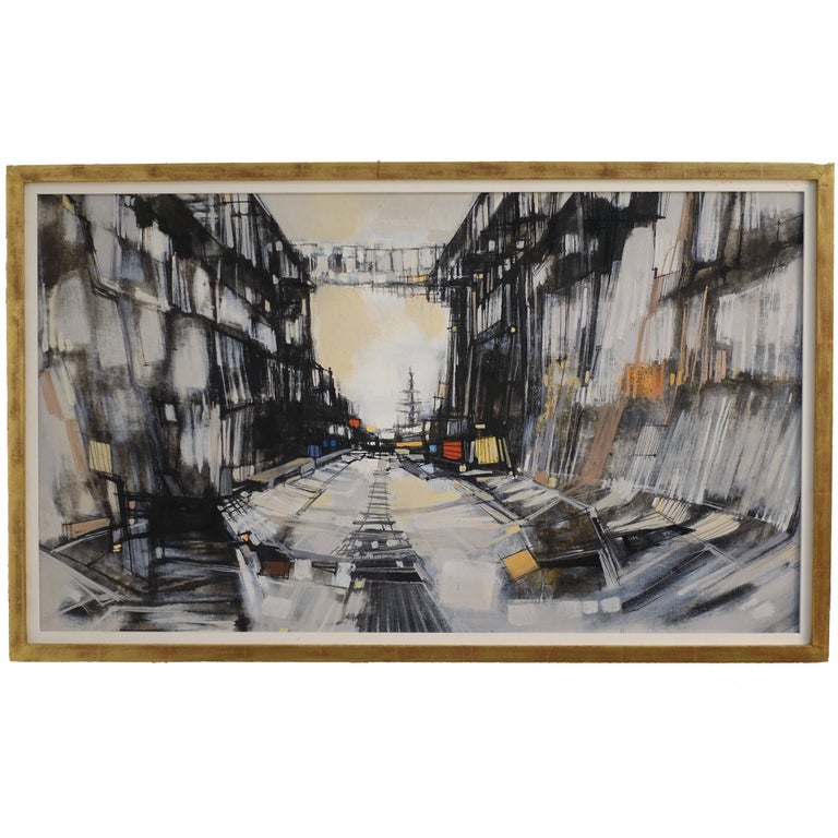 Abstract Cityscape Painting by Max Gunther, Europe Midcentury, 1960s For Sale