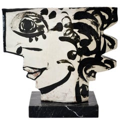 Vintage Studio Pottery Sculpture of an Abstract Two Sided Face by Barbara Mahl
