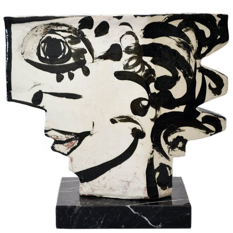 Vintage Studio Pottery Sculpture of an Abstract Two Sided Face by Barbara Mahl For Sale