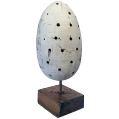 Vintage Carved Wood Egg Sculpture, circa 1950s