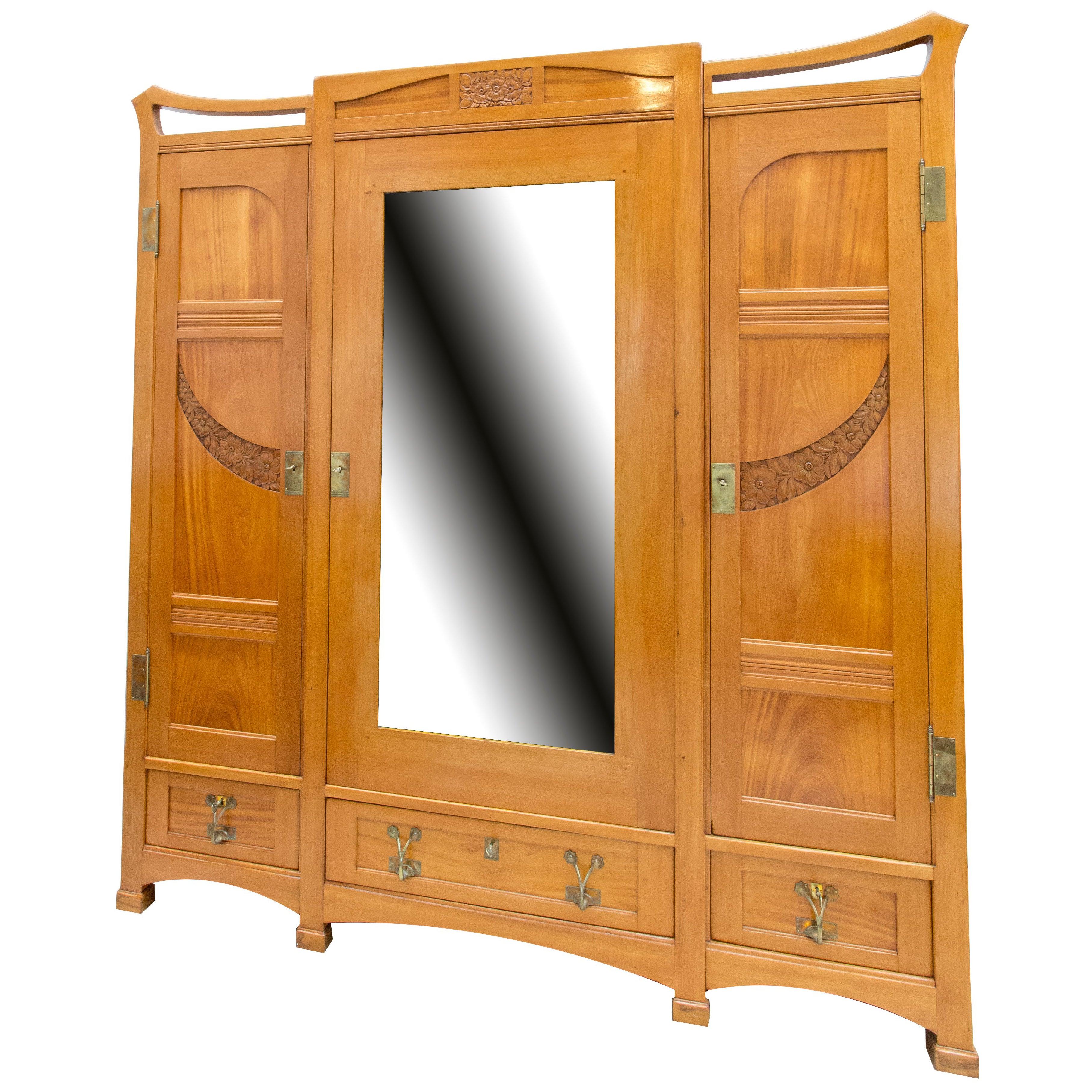 Big Art Nouveau Solid Ash Wood Three Door Wardrobe Cabinet