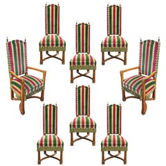 Set of Eight Brutalist Chairs in Oak, Brass and Velvet, circa 1950